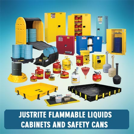Justrite flammable liquids cabinets and safety cans